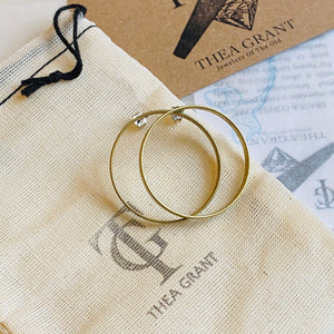 Round brass hoop stud earrings