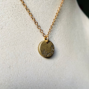 Custom Engraved Vintage Brass Small Heavy Disc Pendant