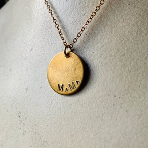 Custom Engraved Vintage Brass Flat Disc Pendant