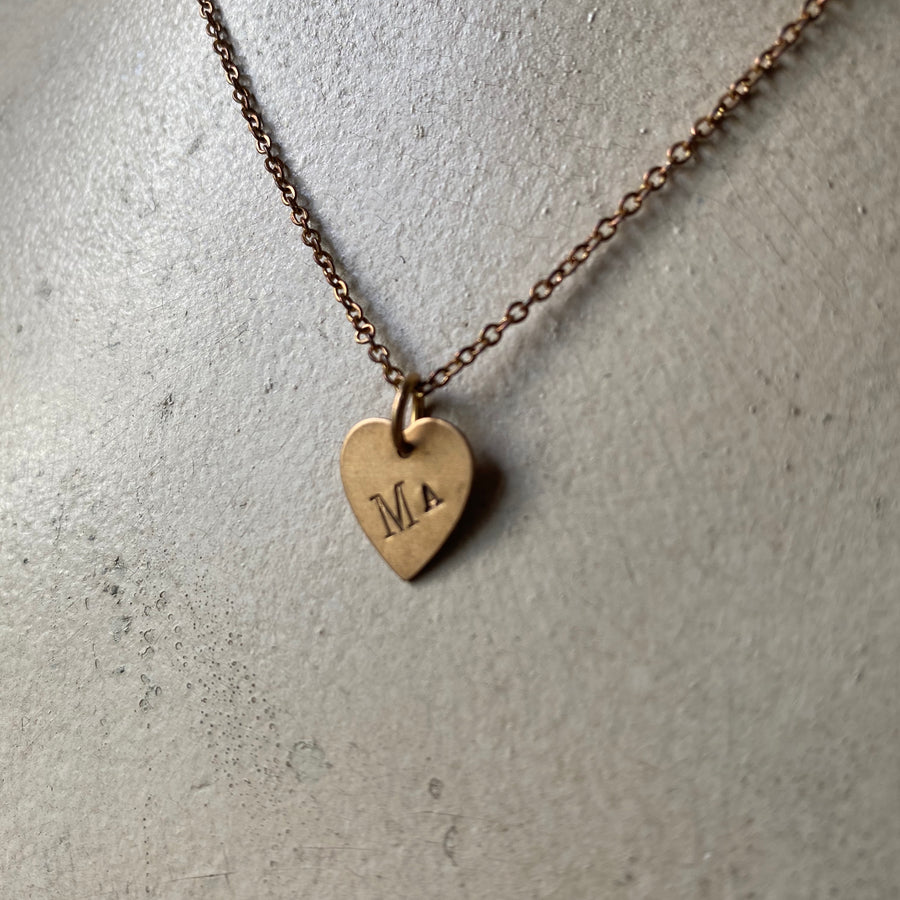 Vintage Brass Small Heart Charm Necklace, Custom Engraved