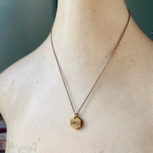 Vintage Brass Small Heavy Hexagon Pendant, Custom Engraved