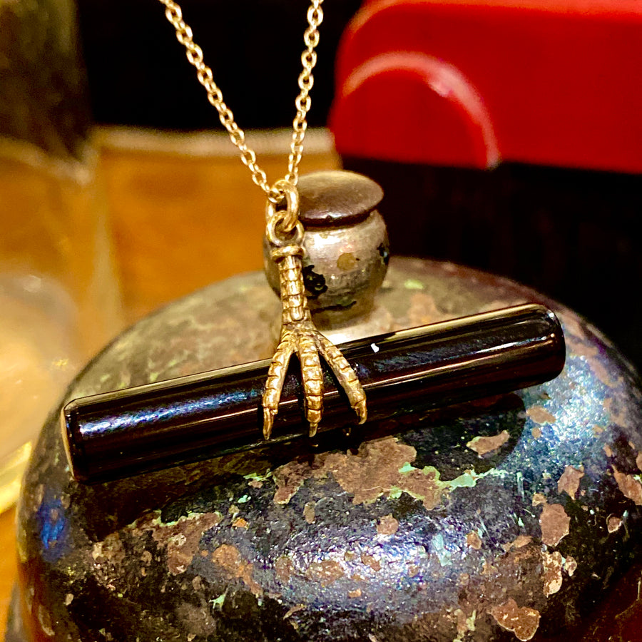 Onyx Bar Double Claw Pendant Necklace