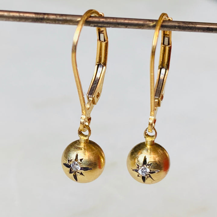 Degas Brass and Diamond Starburst Earrings