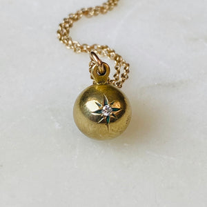 Manet Diamond and Brass Ball Pendant Necklace