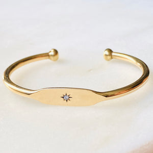 Lautrec Brass and Diamond ID Cuff