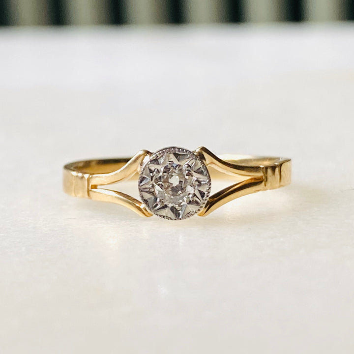Diamond Ring, Antique Solitaire Art Deco 10k Gold