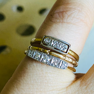 Art Deco Diamond and Gold Wedding Bands