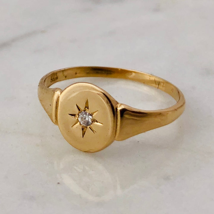 Rosa Diamond Gold Oval Signet Ring