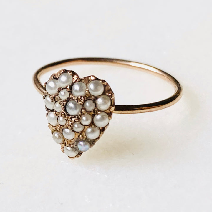 Antique pearl heart gold ring