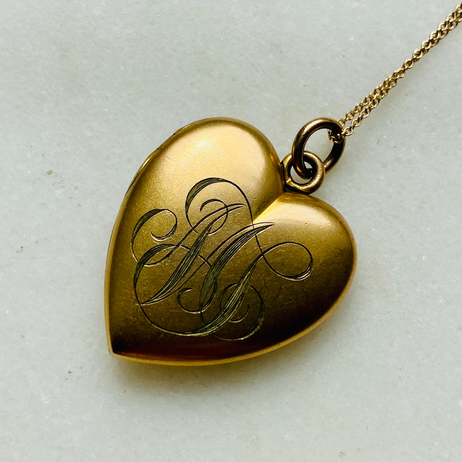 Victorian Gold-Filled Heart Locket Necklace set with Paste