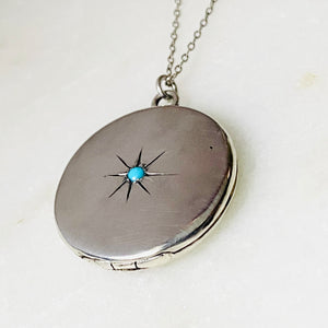 Sterling silver starburst and turquoise round locket necklace