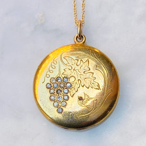antique locket gold grape bird