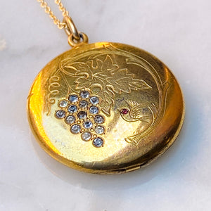 Victorian crystal locket gold grapes sparrow