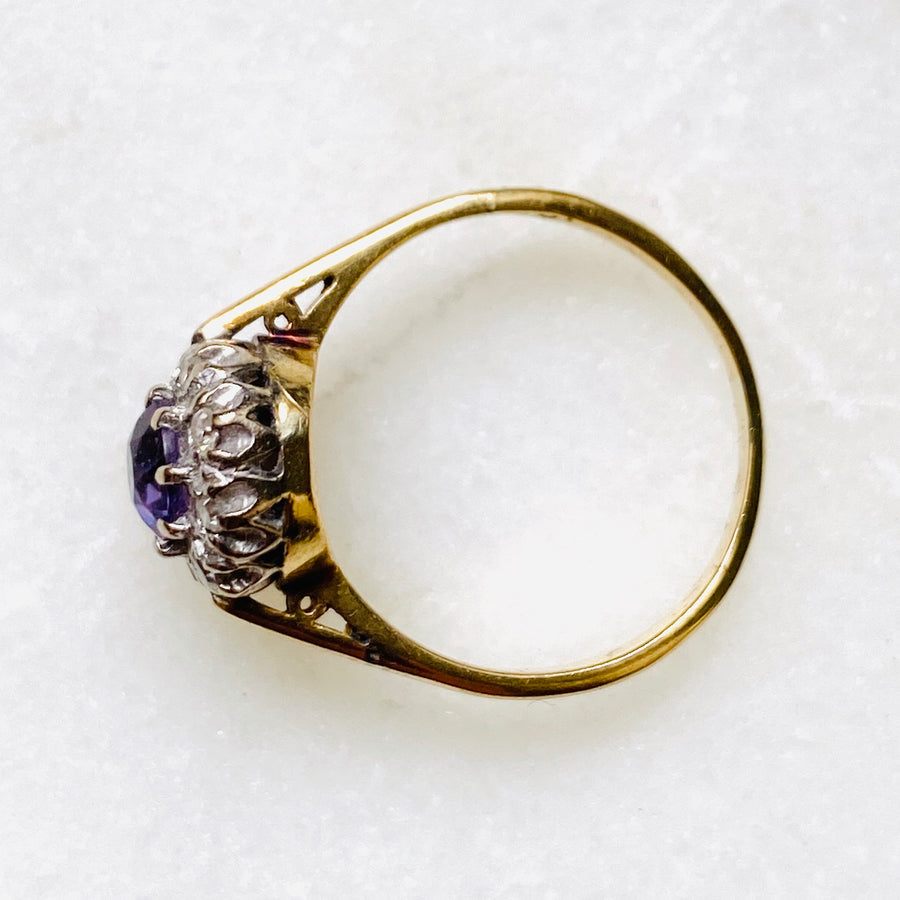 Cata Amethyst and Diamond Gold Antique Halo Ring