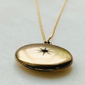 Victorian starburst gold-filled locket necklace