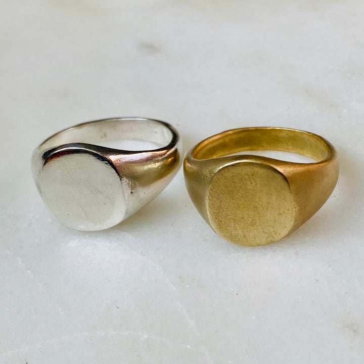 Signet ring oval blank brass sterling silver