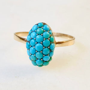 Victorian Turquoise Oval Pavé Bombe Ring