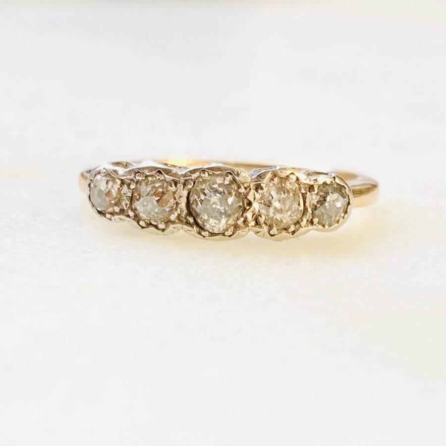 Graduated Five Diamond and Gold Antique Half-Hoop Ring