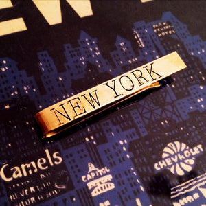 tie bar, custom stamped, made in NYC