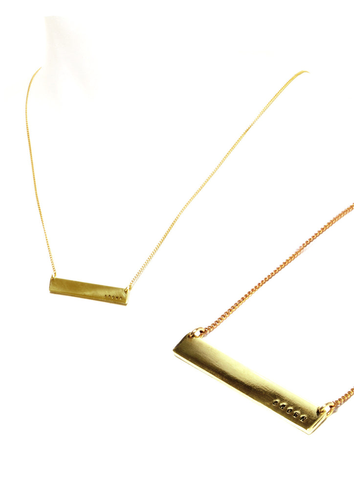 BARMAID thin bar necklace, CUSTOM