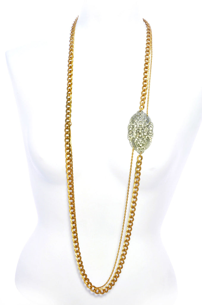 Long thick & thin strand chain necklace with diamante detail.Front