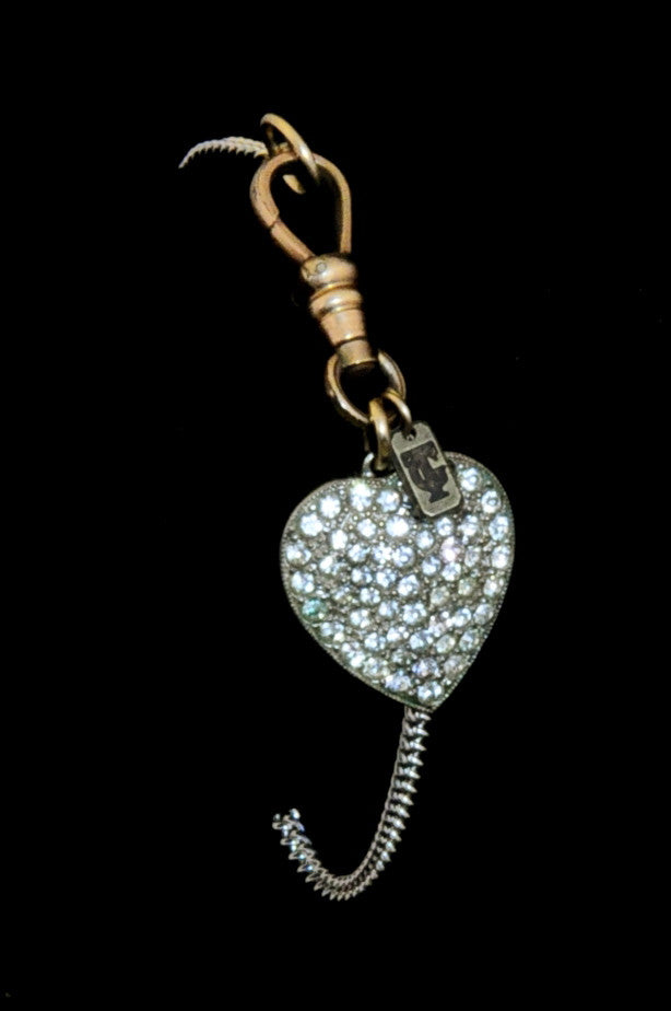 Fine sterling silver bracelet with vintage circa 1940 heart charm pavé set with rhinestones. ON MANNEQUIN