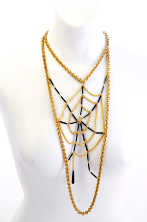 Fine vintage chain and black bugle bead spider web bib necklace.