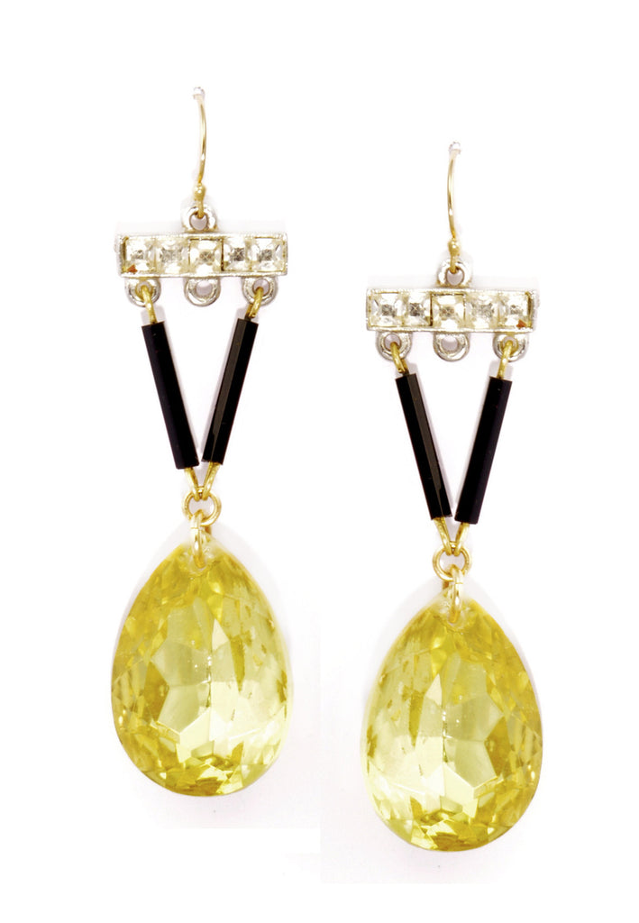 Art Deco vintage black, clear and citrine glass drop earrings.