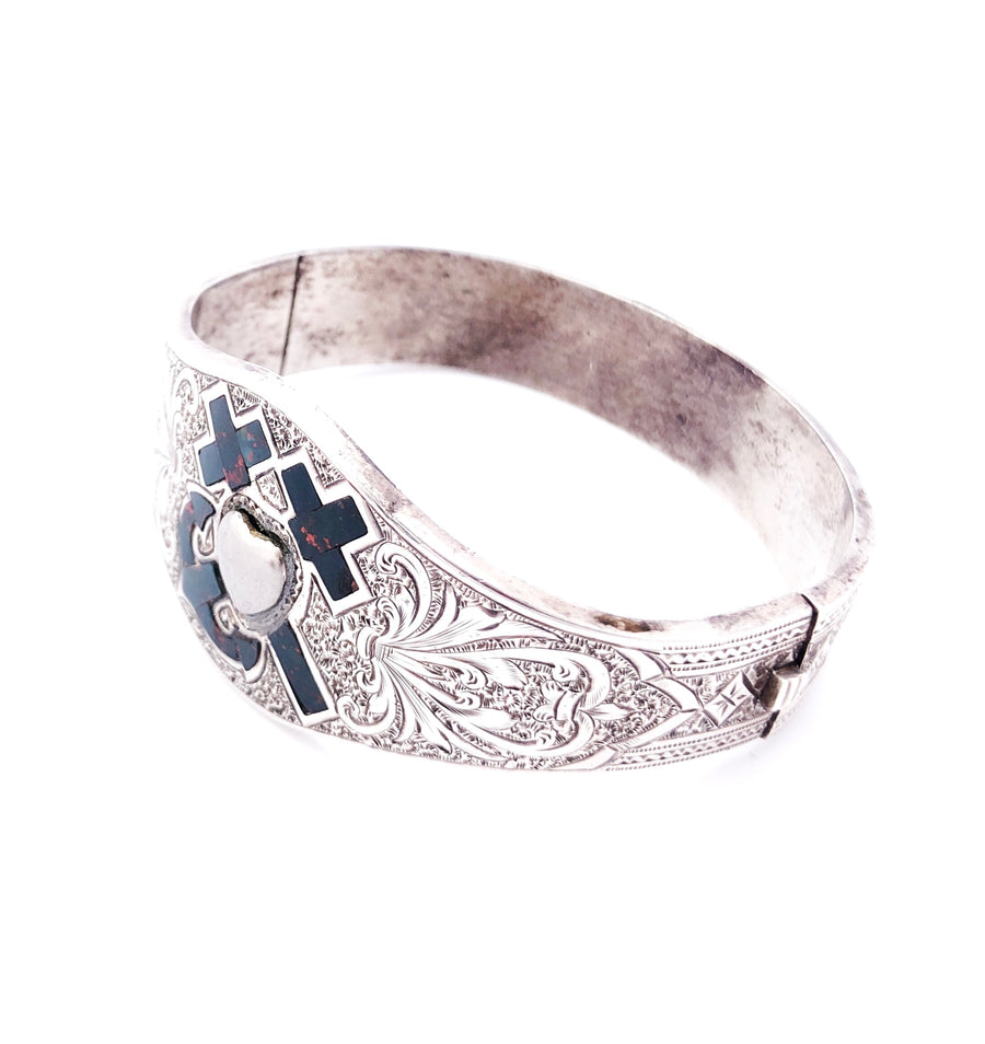 Faith Hope and Charity Bloodstone Inlay Silver Victorian bracelet