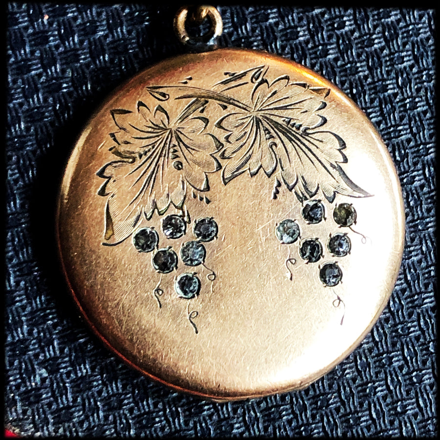 Grape clusters antique locket necklace