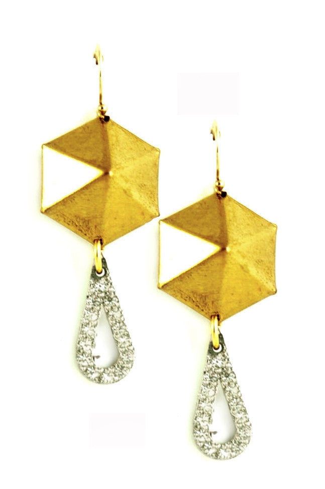 Raw brass hexagon pyramid earrings with sparkly teadrops