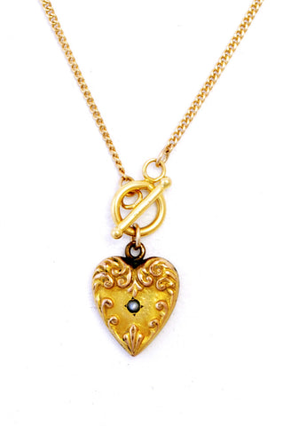 Antique Repousse Gold-Filled Art Nouveau Victorian Hollow Heart Charm Necklace with Seed Pearl