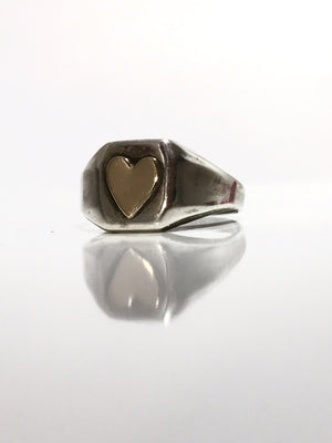 Vera sterling signet ring with GF heart