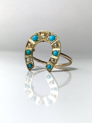 Willa Horseshoe Turquoise Pearl Ring
