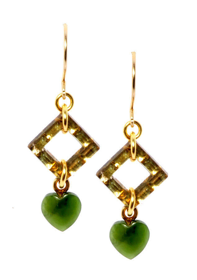 Glass and jade heart earrings.