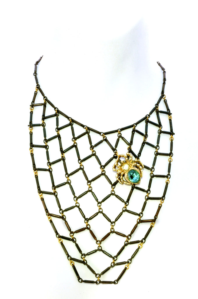 Spider web bib necklace with rhinestone spider.Front