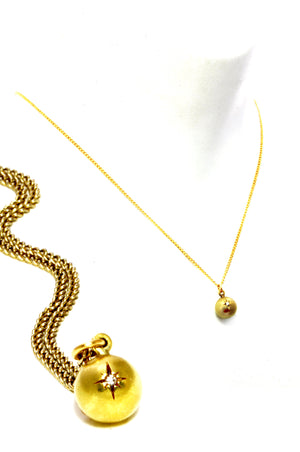 Diamond and Brass ball necklace