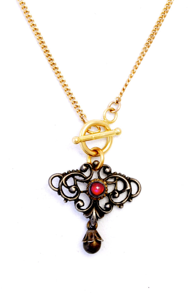 Antique Victorian Art Nouveau Scroll Filigree Charm Necklace with Ruby Colored Glass Stone