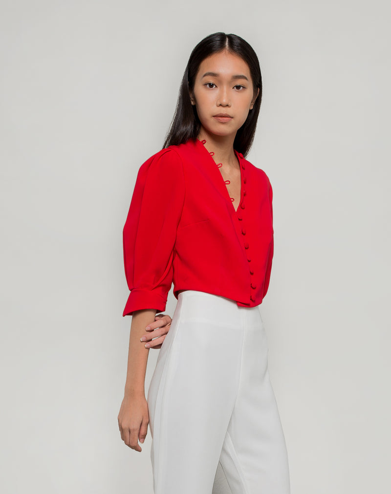 Pebbled Puff-Sleeves Top