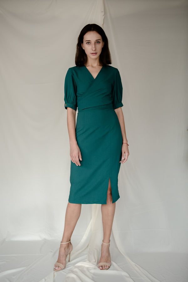 Stud Wrap Dress in Green