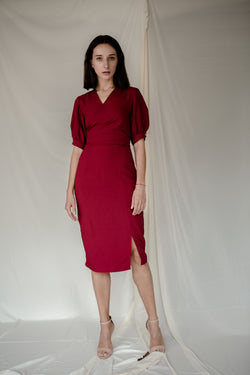 Stud Wrap Dress in Red
