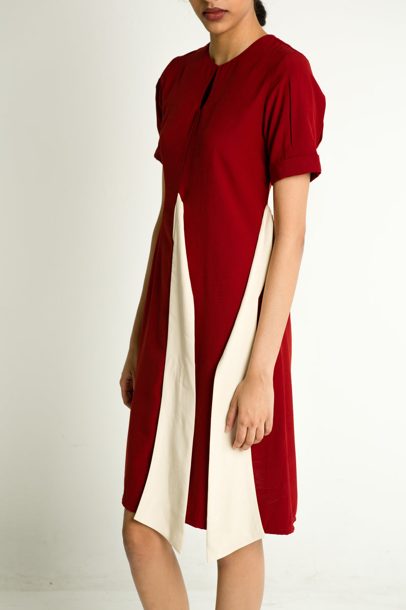 Contrast Asymmetrical Dress