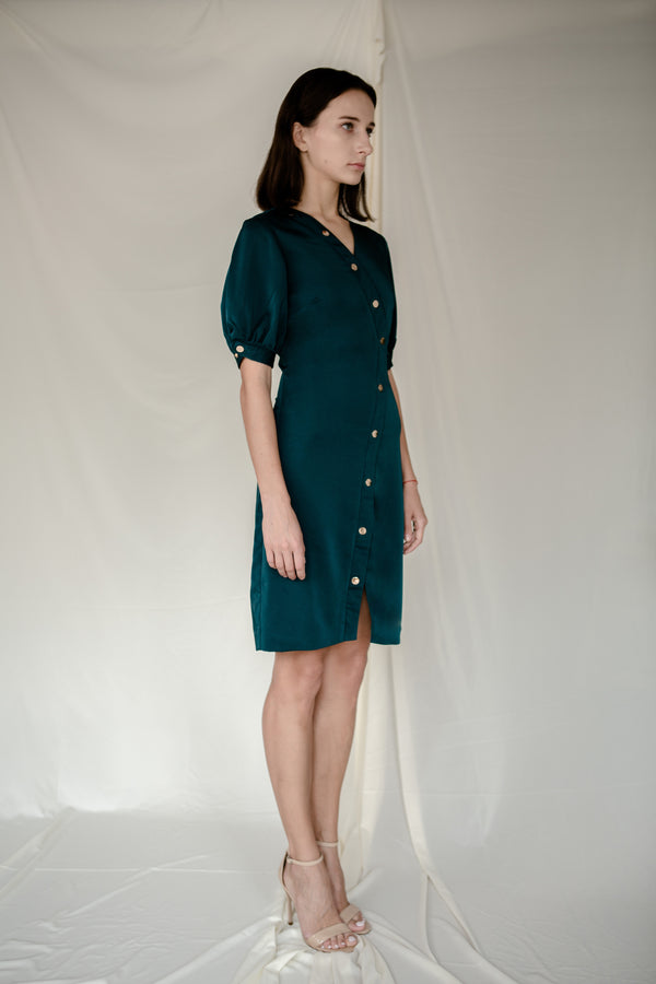 Stud Angled Dress in Green