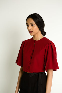 Pebbled Pleat Sleeves Top