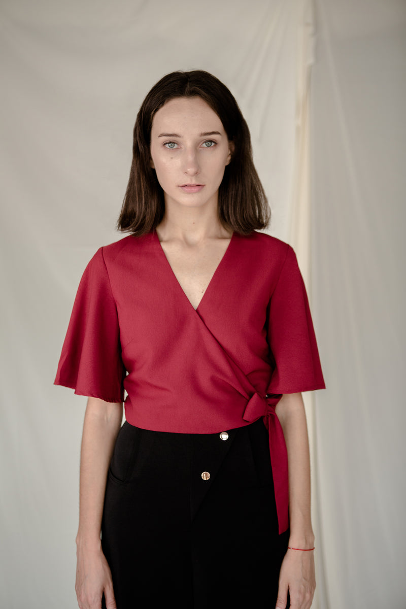 Side Tie Top in Red