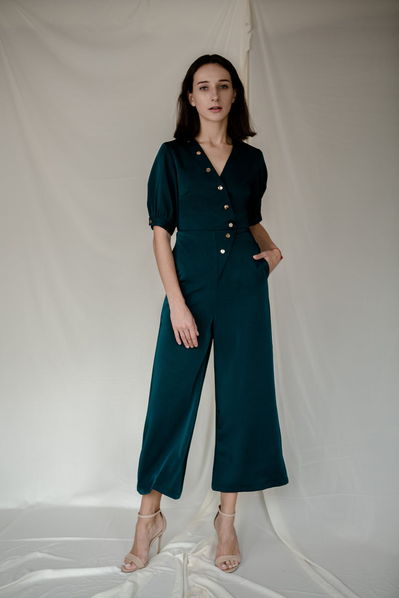 Stud Jumpsuit in Green