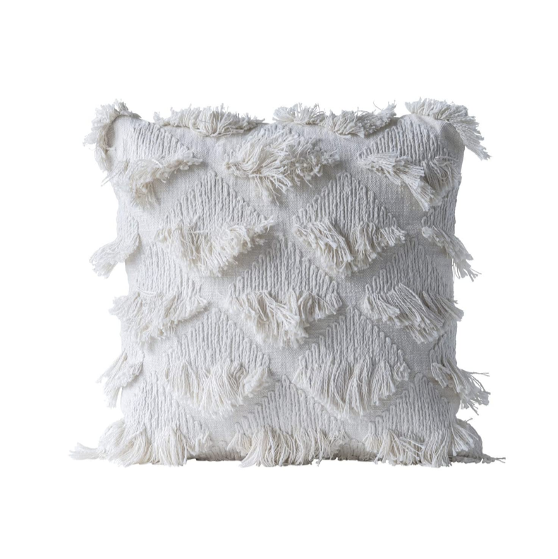 Coussin blanc boho 55x55 Bloomingville - La Maison By Nad Yuht