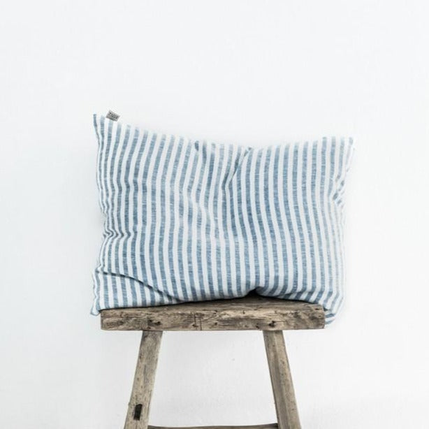 Taie d'oreiller Magic Linen - Rayé bleu