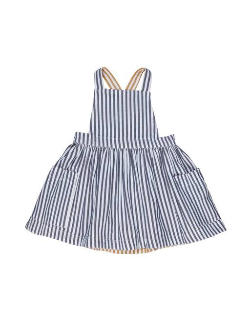 HUXBABY STRIPE REVERSIBLE PINAFORE NAVY MUSTARD STRIPE