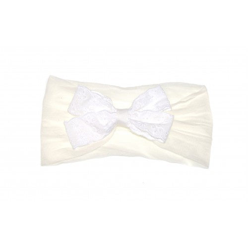 GOODY GUMDROPS BABY BRODERIE BOW HEADBAND - WHITE